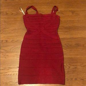 Red Herve Leger bandage dress
